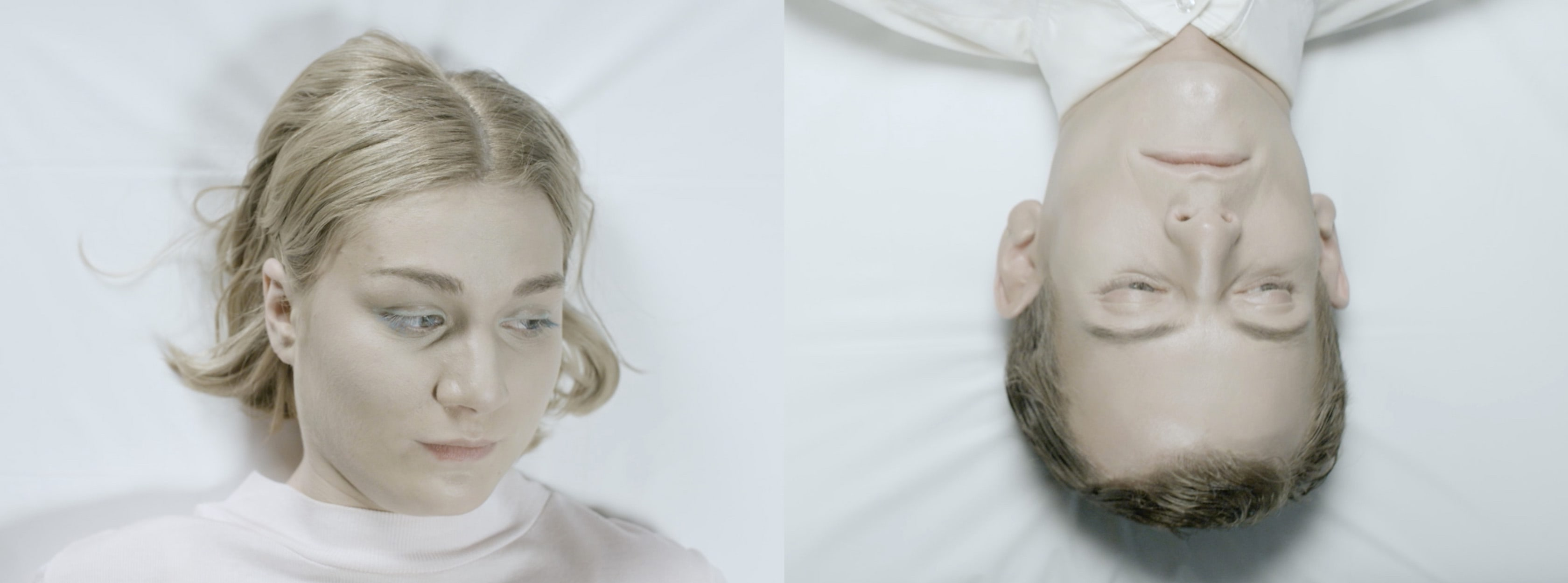 A split frame of a young man and woman lying on a white mattress.