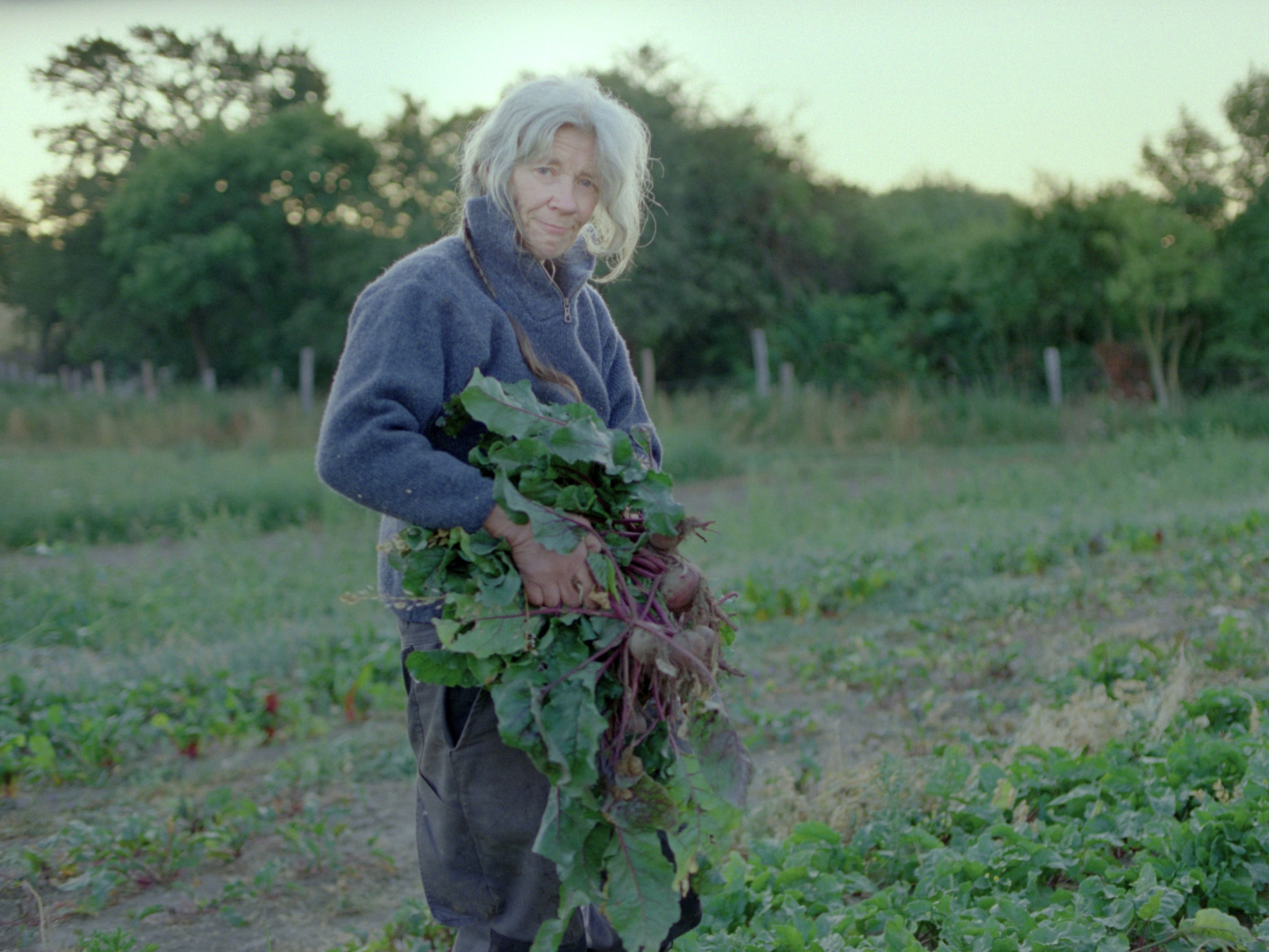 An older woman standing in a field, holding a bunch of beetroot and looking at the camera.