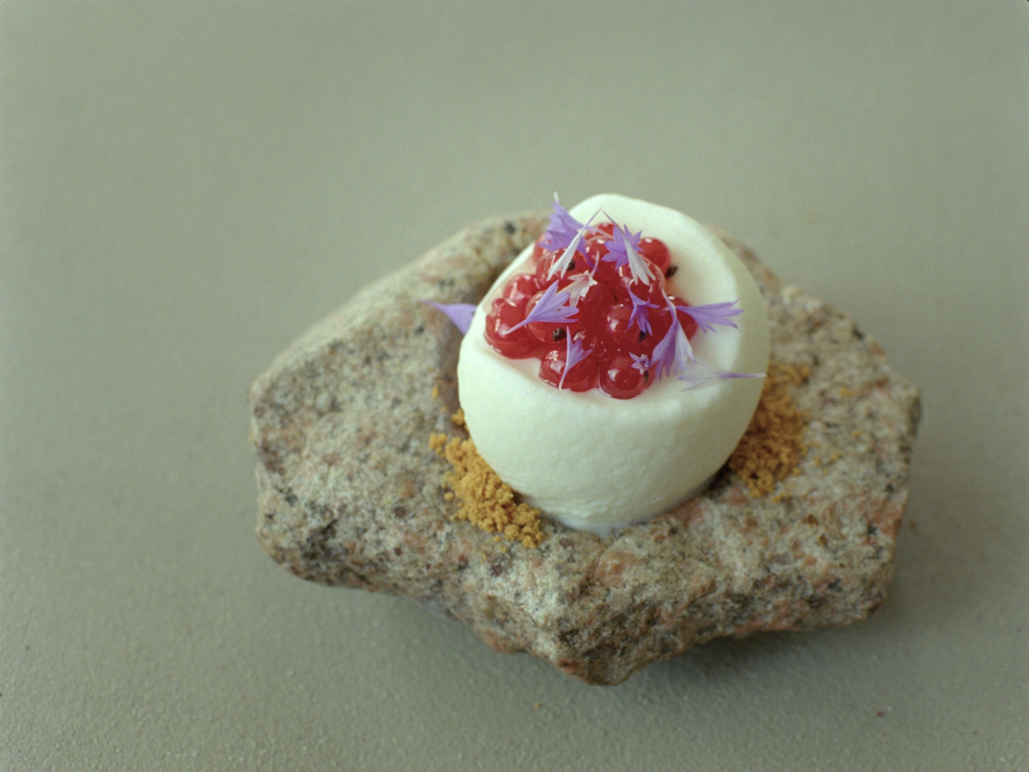 A small stone plate with ice cream, red currant and corn flower on a concrete table.