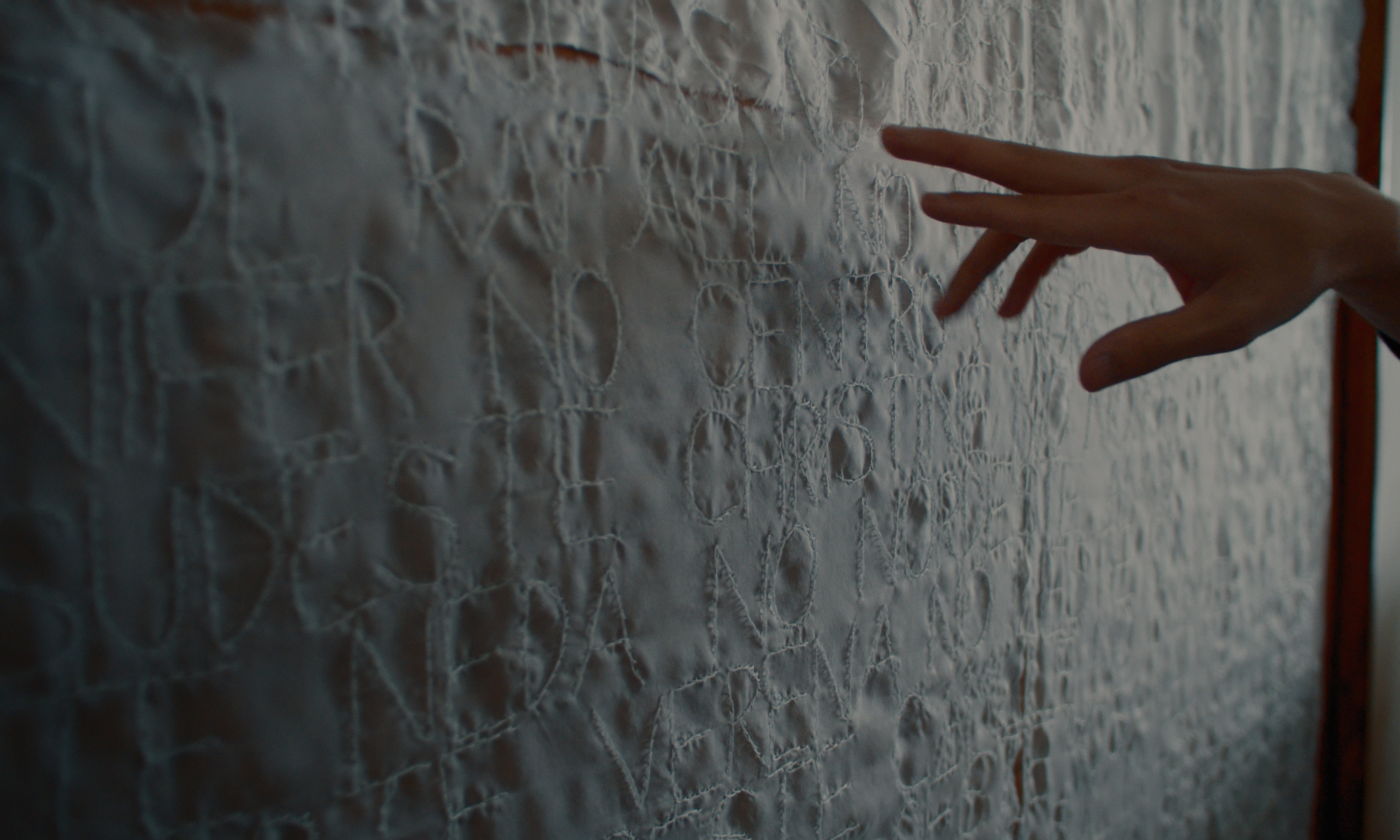 A hand pointing at an textile artwort by Lucas Odahara.